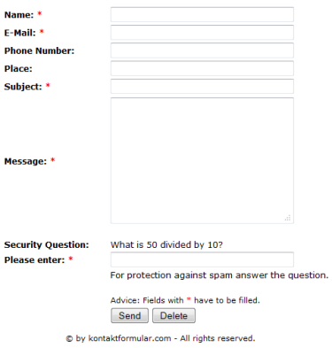 Contact Form With Security Question