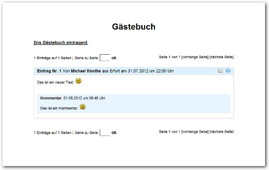 Gästebuch PHP Script mit Spamschutz für Homepage zum Download