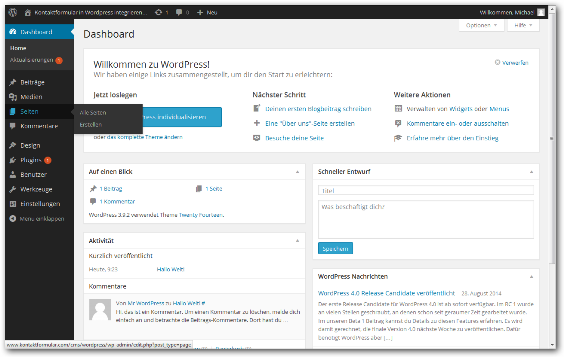 Kontaktformular Wordpress Schritt 1