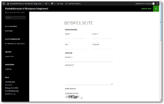 Kontaktformular Wordpress Schritt 6